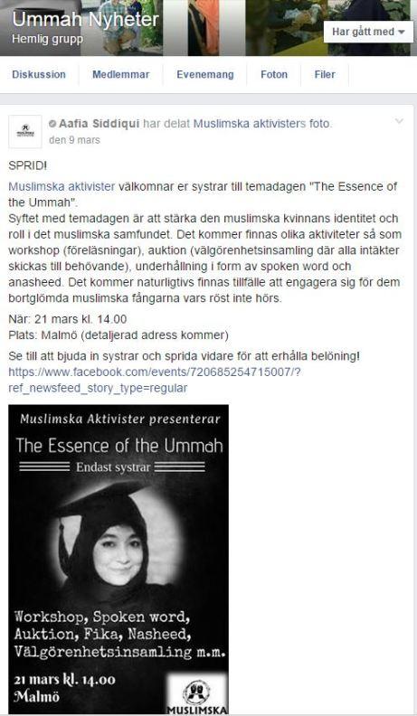 DELA muslimska aktivister inlägg med UMMAH nyheter
