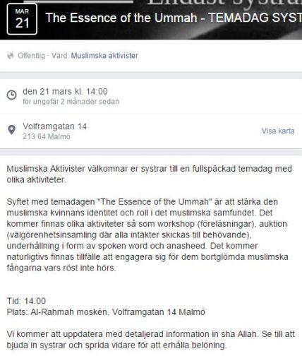DELA muslimska aktivister MÖTE närvarande REKLAM FB