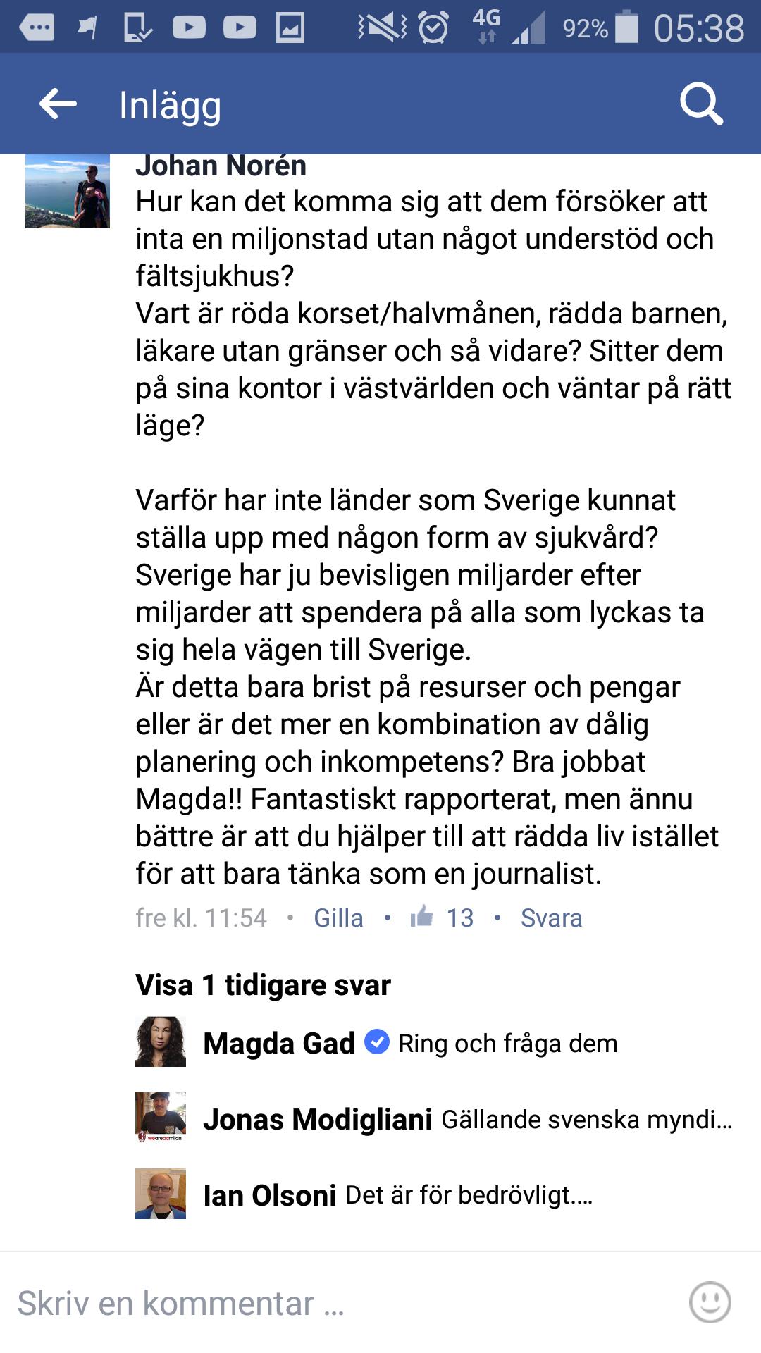 Sverige skanker faltsjukhus till fn