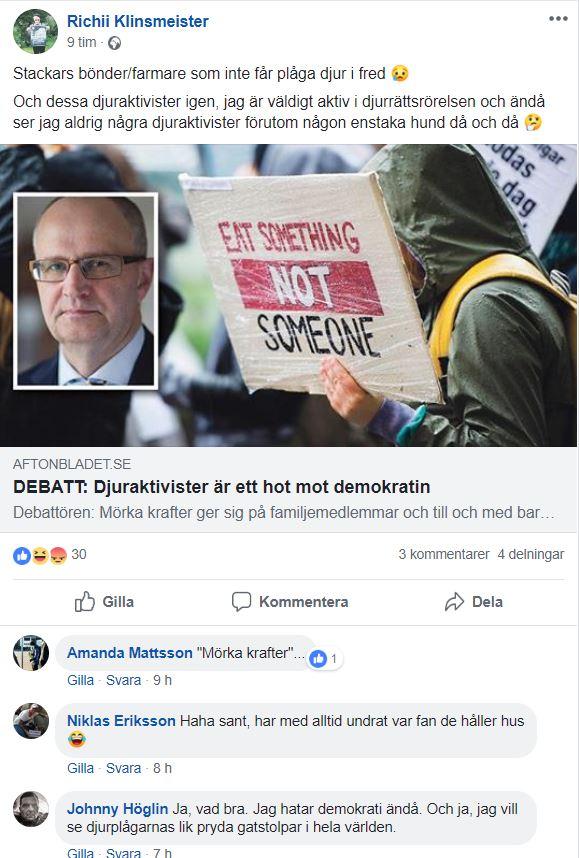"""Johnny Höglin, """"antinazisten"""" som hatar demokrati och vill hänga bönder ilyktstolparna"""